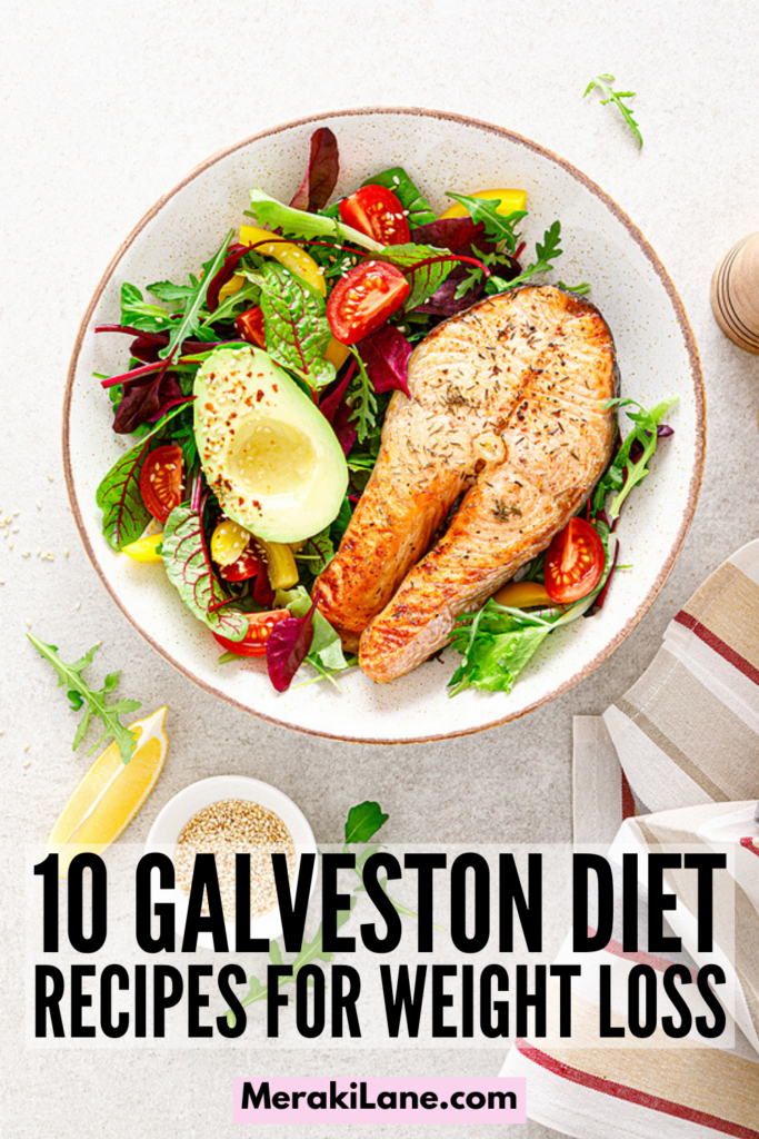 The Galveston Diet for Beginners | What is The Galveston Diet? And what are the health benefits? Will it help me lose weight? We answer all of these questions and more in this post! Designed to reduce the symptoms of menopause, including a slow metabolism, inflammation, hot flashes, and weight gain, many middle aged women have had success on The Galveston Diet Plan. This post includes a foot list of what to eat and avoid, as well as recipes you can use to create a meal plan just for you!