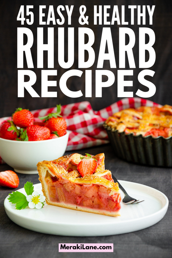 45 Healthy Rhubarb Recipes | If you're looking for the best rhubarb recipes, this post is for you! We're curated tons of ideas that are easy, healthy, and downright delicious. We've included our favorite rhubarb strawberry recipes, plus lots of other ideas you'll love. From muffins and pies, to rhubarb crisp and cake, to sauces and jams, you will find both sweet and savory recipes in this list, along with vegan, low carb, keto, gluten free, sugar free, and paleo options!