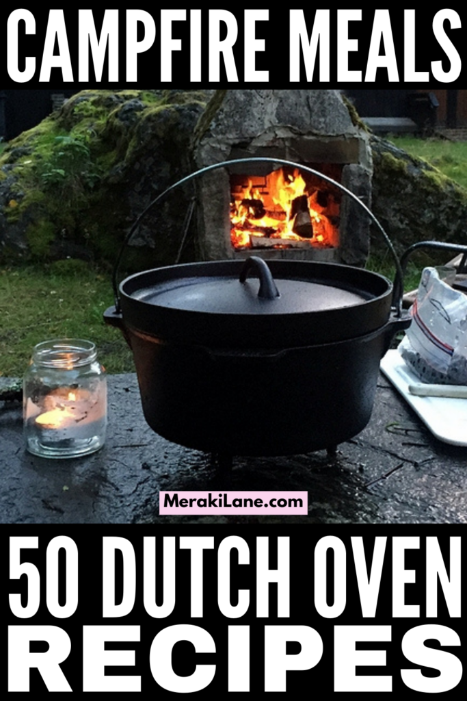 50 Simple Dutch Oven Recipes | If you're looking for camping dinners that are easy and delicious, this post has tons of one pot meals to choose from! From healthy recipes, to vegan and vegetarian options, to delicious chicken, pot roast, beef stew, and pulled pork recipes for meat lovers, this post has it all. We've even included our favorite dutch oven dessert recipes, and all of these can be cooked over your campfire. Summer camping meals just got an upgrade!