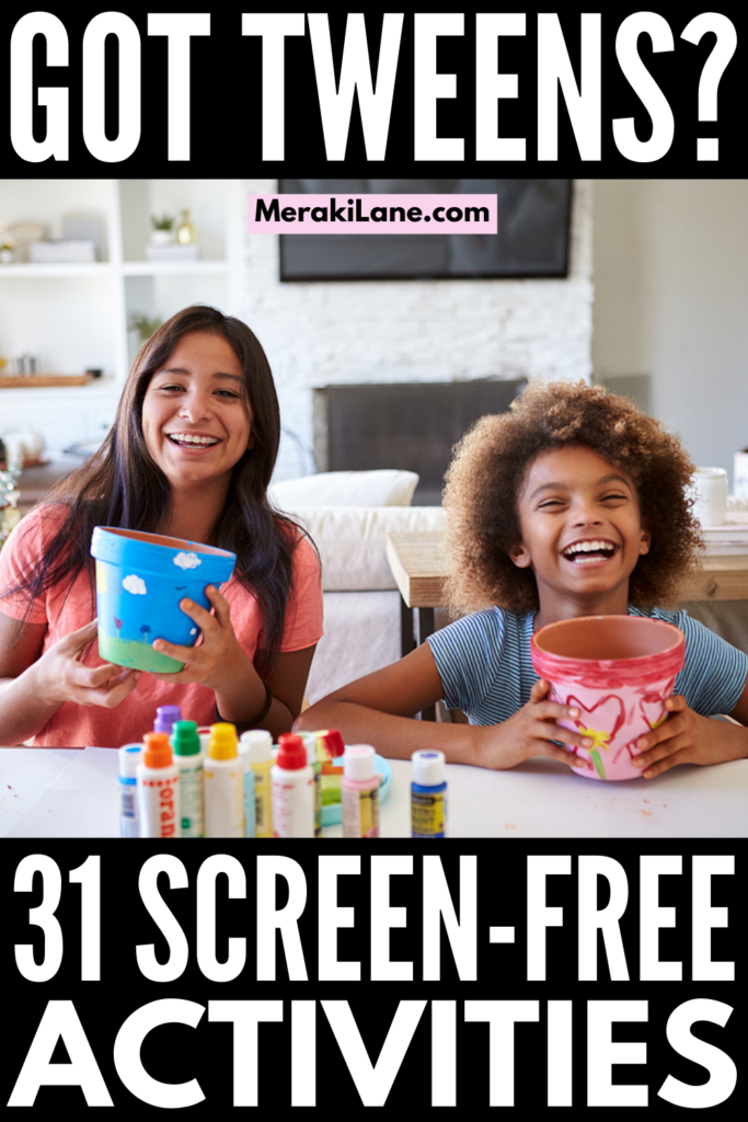 31 Indoor and Outdoor Tween Activities | If you're a parent, caregiver, or teacher of tween boys and/or girls, and you need a list of fun ideas to keep them engaged and entertained in summer, fall, winter, and spring, this post is for you! We've curated our favorite boredom busters with a mixture of independent activities and family fun ideas that are perfect for to enjoy together on a rainy day, on a road trip, while camping with the fam, and on weekends and holidays.