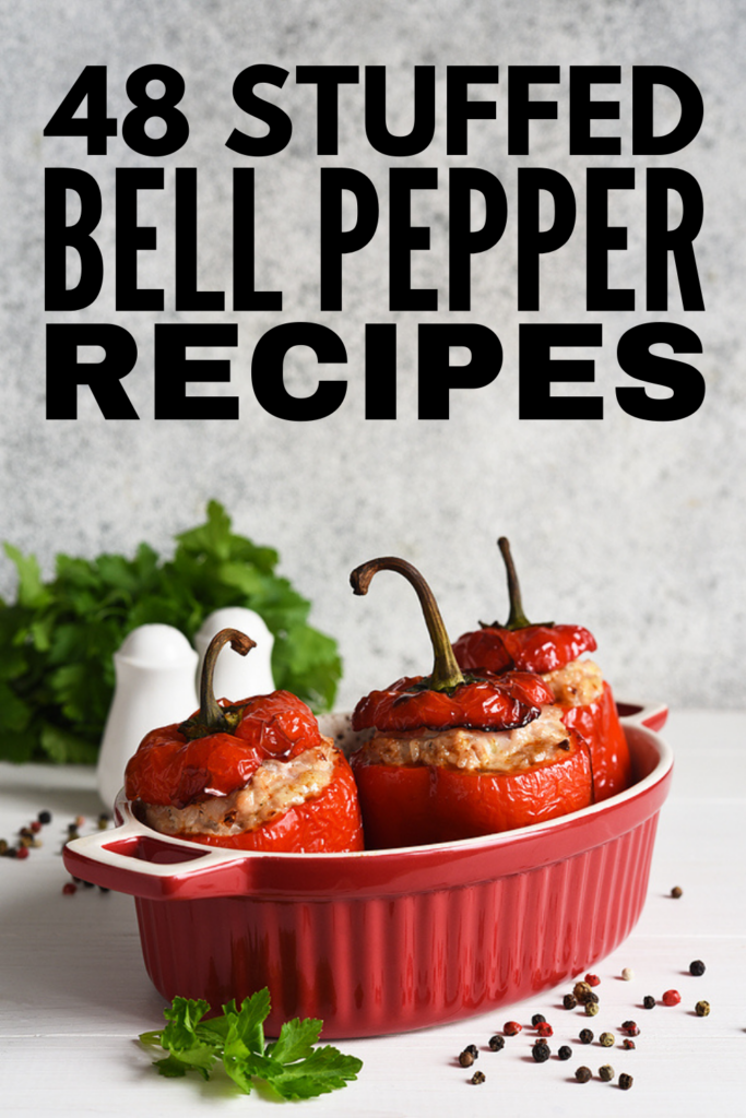 48 Healthy Stuffed Bell Pepper Recipes for Weight Loss | Bell peppers offer so many health benefits, from boosting your immunity, to  helping you get a good night of sleep, to improving heart health. Bell peppers can also help you lose weight, and we've rounded up the best stuffed pepper recipes that taste good while also helping you feel full and satiated. Whether you prefer traditional ground beef and rice recipes, or want vegetarian or vegan options, this post as it all!