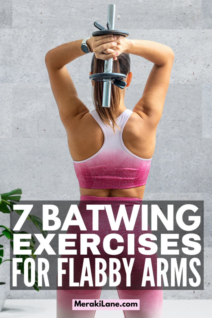 7 Best Batwing Workouts to Tighten and Tone   If you want to know how to get rid of flabby arms, this post includes the best arm exercises for batwings! Whether you prefer to workout at home or at the gym, you can create your own arm workout routine based on what equipment you have available to you (yes, there are no equipment options!). We've included the best exercises for triceps along with a few other moves that target batwings for beautifully toned tank top arms!