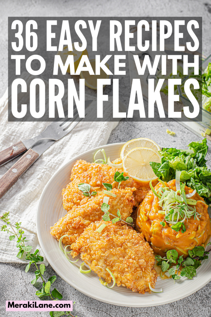 36 Easy and Healthy Corn Flake Recipes for Every Meal   Whether you're looking for healthy breakfast ideas, want to try something new for lunch or dinner, or need guilt-free snacks, desserts, and treats to satisfy your sweet tooth, these corn flake recipes will not disappoint! From no-bake cornflake bars, crispy French toast, and a hash brown casserole, to baked chicken fingers and make ahead funeral potatoes, to butterscotch corn flake cookies and fried ice cream, these recipes are so tasty!