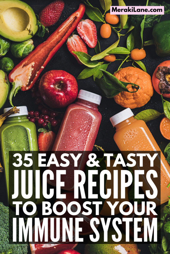 35 Immune Boosting Juice Recipes | If you're looking for a list of the best foods you can juice to create your own immune boosting juicers and shots at home, this post is for you! We're sharing juicing tips and essentials for beginners, a list of 6 healthy immune boosting foods for juicing, and 35 delicious DIY juicing recipes you can make in minutes. These antioxidant recipes are also anti-inflammatory, anti-viral, high in vitamin C, and a great way to improve your gut health. Cheers!