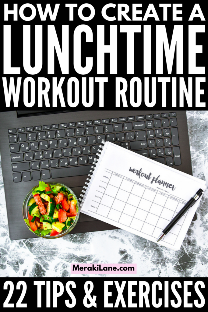 22 Lunch Workout Routine Tips & Hacks | Whether you work from home or at the office, it IS possible to squeeze in a quick sweat sesh between calls and deadlines! There are tons of no equipment workouts you can stream for free, ranging from the 15 minute to 30 minute mark, with longer options to choose from. This post has everything you need - workout essentials, tips to teach you how to look good after a lunch workout, and pre- and post-workout snacks and meals, and more!