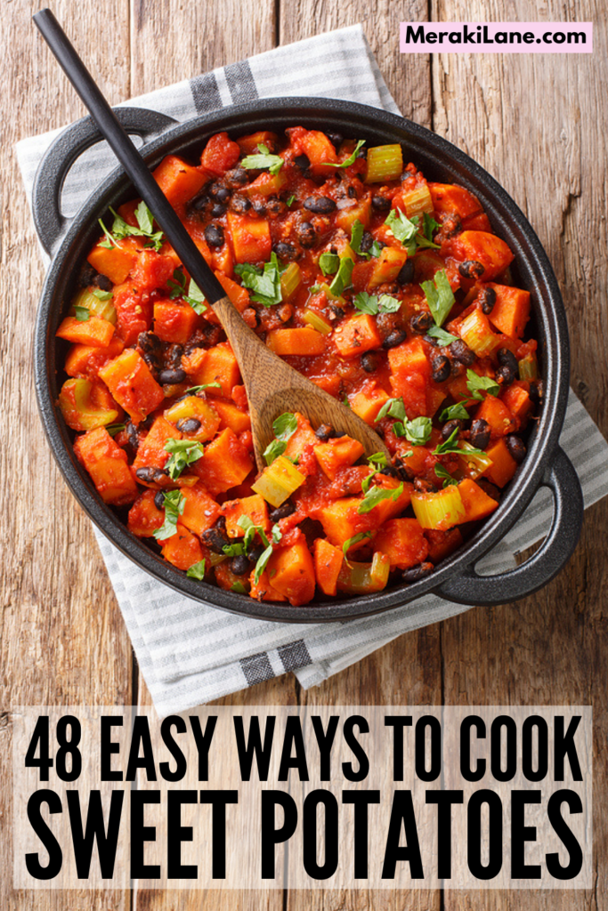 48 Healthy Sweet Potato Recipes | Sweet potatoes offer so many health benefits - they're rich in Vitamin A, full of fiber, great for gut health, and aid with weight loss to boot! If you're looking for easy ways to cook sweet potatoes, we've curated the best recipes to try. You can bake, mash, or roast them, throw them in the air fryer, add them to you favorite winter casserole or summer salad, try them candied, mix them with quinoa, try a breakfast bake...the possibilities are endless!