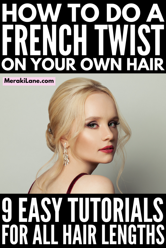 9 French Twist Hairstyles for All Hair Lengths   Whether you have short, medium length, or long hair that's straight, wavy, or curly, the French twist updo is a simple yet elegant way to style your hair. If you want to know how to do a French twist on your own hair, this post has lots of step by step hair tutorials to teach you. Perfect for a wedding, prom, work, or lazy weekend, we've curated a mix of classic and modern styles, including sleek looks and messy, loose styles.