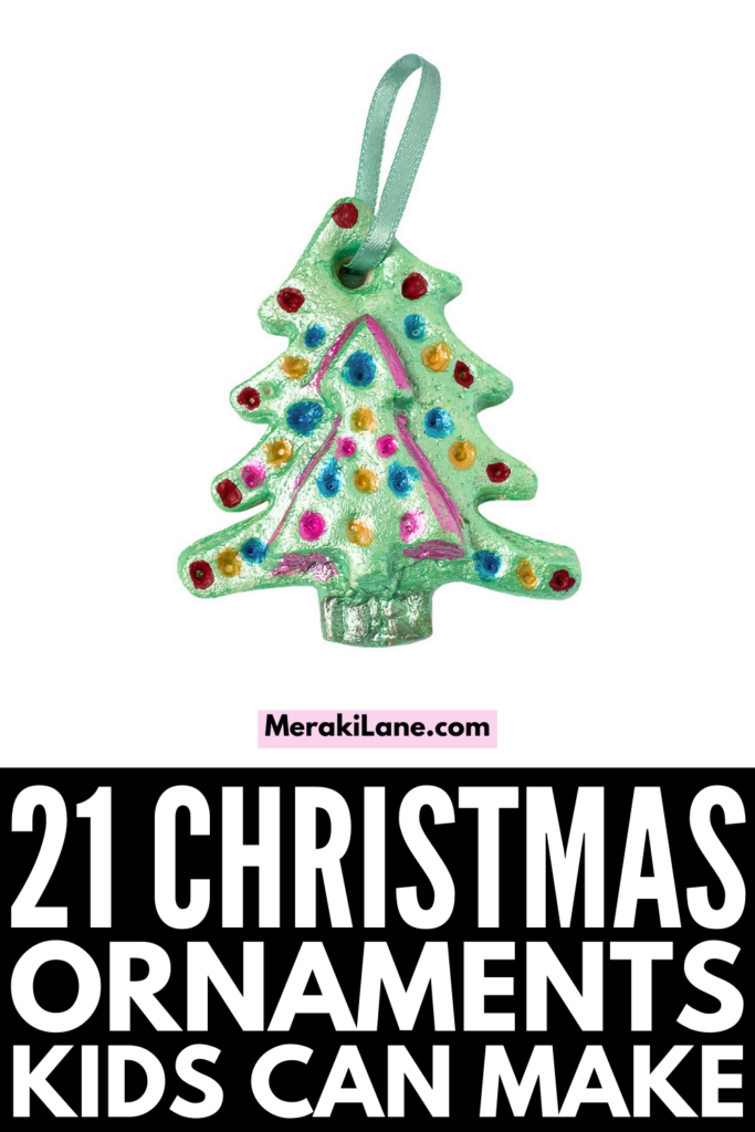 21 Homemade Christmas Ornaments for Kids to Make | Whether you're looking for easy Christmas crafts to get your kids in the holiday spirit, or in need of DIY Christmas gifts kids can make for their Grandparents, this post has lots of ideas to inspire you! From simple salt dough handprint and footprint ornaments you can make with toddlers, to more complex crafts for older kids like pop can snowmen, clothespin snowflakes, and yarn wrapped trees, these ornaments will look beautiful on your tree!