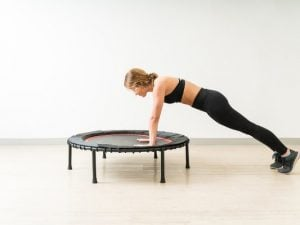 10 Trampoline Workouts For Weight Loss | Whether you have a mini indoor trampoline in your basement or a big full size trampoline in your backyard, there are tons of ways you can use it to lose weight. Jumping is such a great form of exercise, and we're excited to share our favorite trampoline exercise tips and routine ideas for beginners and beyond! The benefits of having a trampoline aren't just for kids - the offer a great way for adults to squeeze HIIT and cardio in at home too!